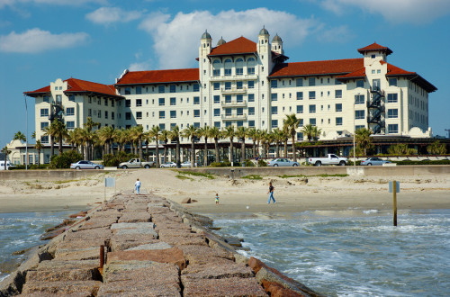 The famous Hotel Galvez and Spa right on the water with a giant jetty has a spectacular lobby and old fashioned charm.