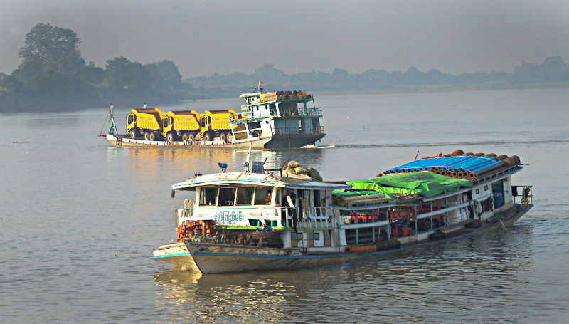 River traffic on the Irrawaddy