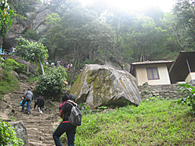 The stone steps to to Edakkal Caves