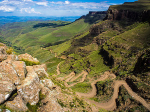 The road through the African Sani Pass