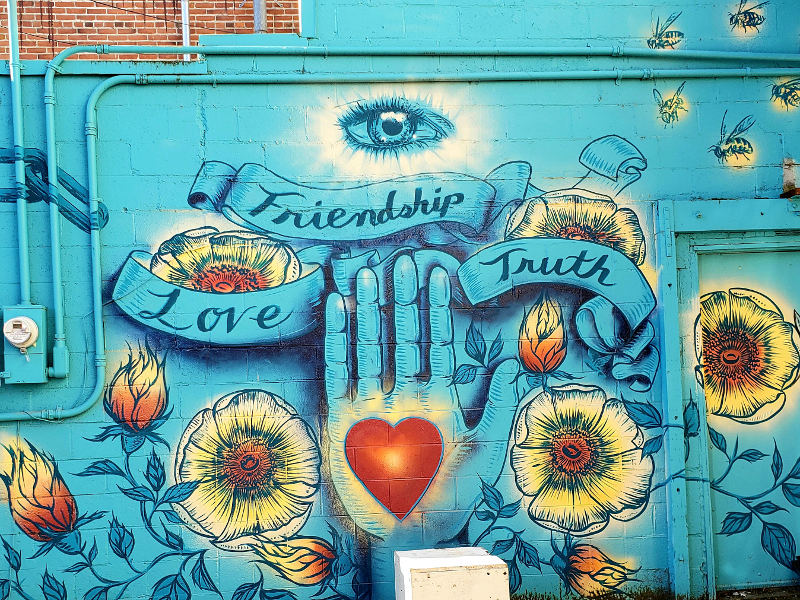 Friendship, Love, Truth, urban art