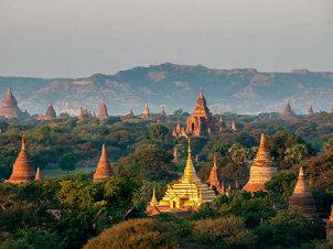 Sailing over the Myanmar's Plains of Bagan